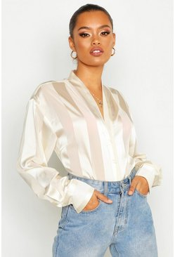 Womens Ivory Satin Stripe Button Through Blouse
