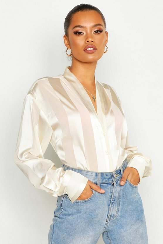 Satin Stripe Button Through Blouse by Boohoo