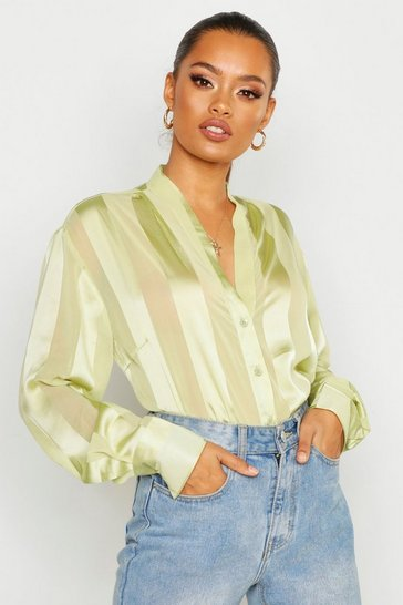 Sage Satin Stripe Button Through Blouse