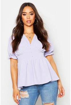 Womens Dove Woven Button Through Peplum Top