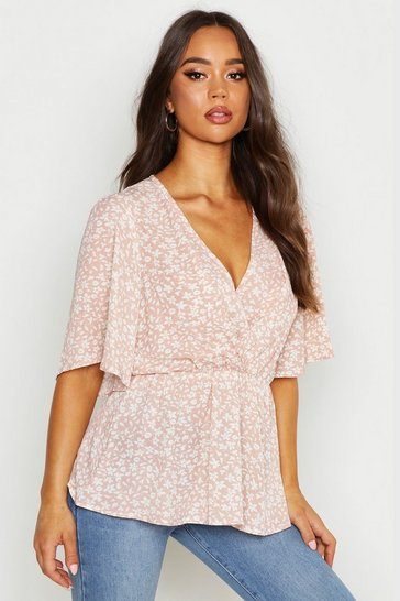 Womens Nude Printed Angel Sleeve Peplum Blouse
