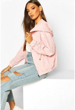 Womens Pink Mesh Panelled Windbreaker
