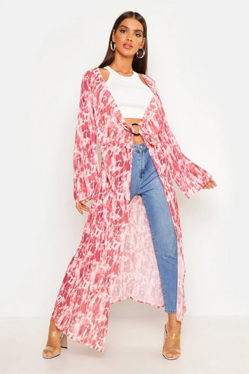 Womens Rust Abstract Spot Ring Detail Kimono