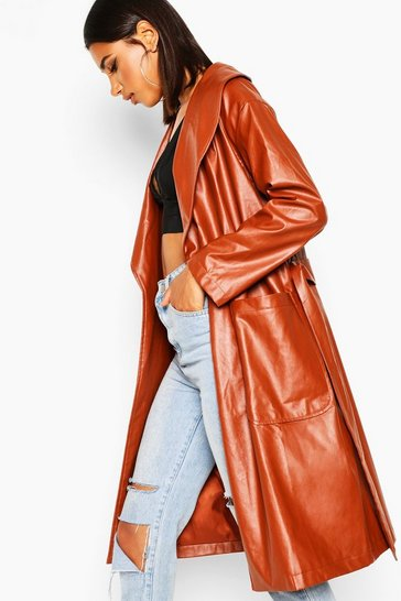 Womens Tan Belted Faux Leather Jacket