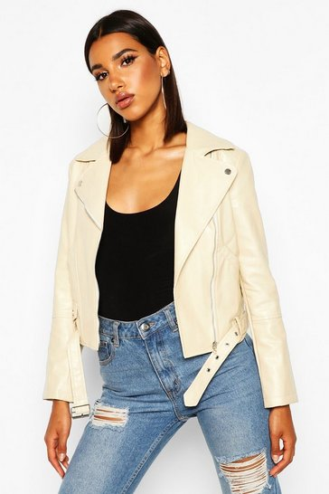 Womens Nude Faux Leather Belted Biker Jacket