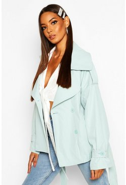 Womens Sage Short Belted Trench Coat