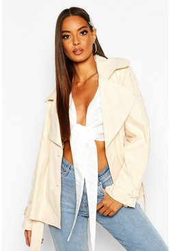 Womens Stone Short Belted Trench Coat