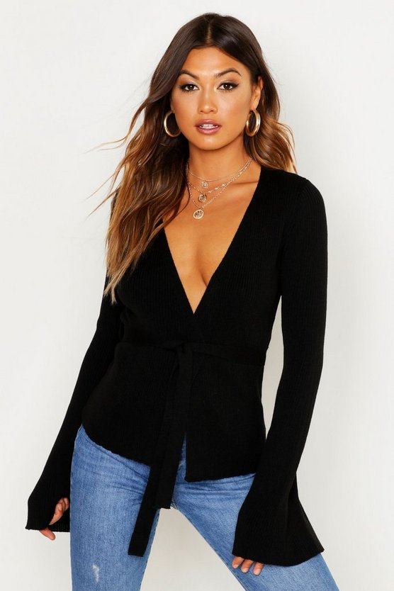 Womens Black Belted Rib Knit Cardigan