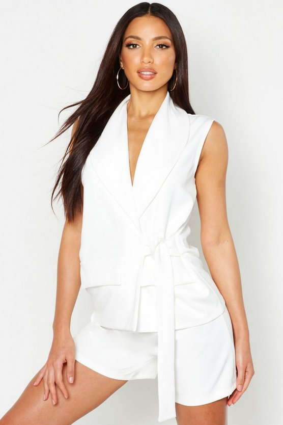 Womens White Sleeveless Duster