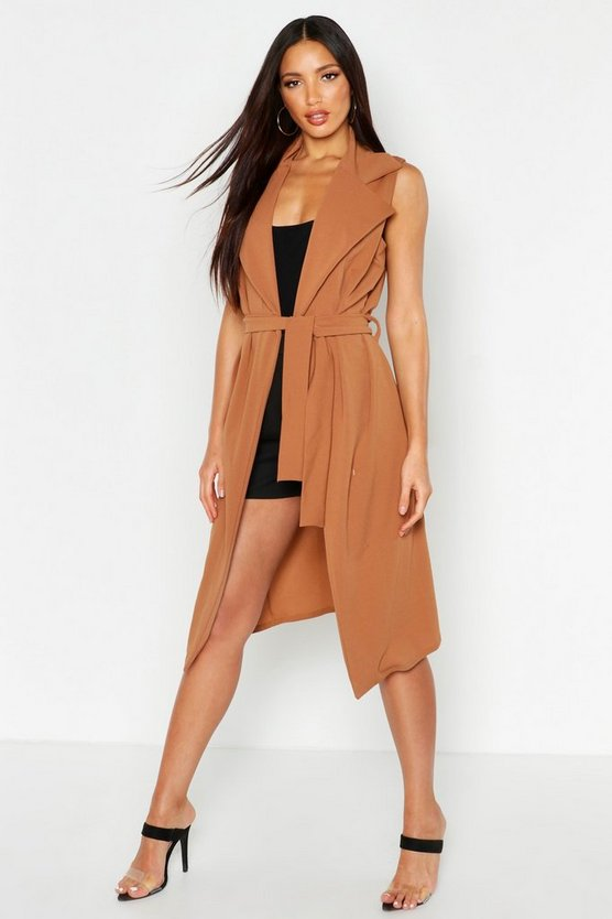 Womens Camel Sleeveless Belted Duster