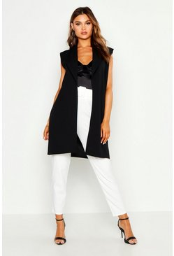 Womens Black Sleeveless Collared Duster