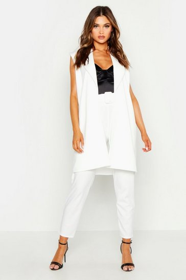 Womens White Sleeveless Collared Duster