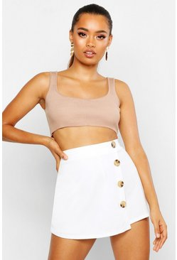 Womens Ivory Button Detail Skort