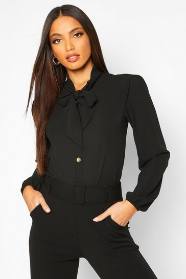 Womens Black Pussybow Button Through Volume Sleeve Blouse