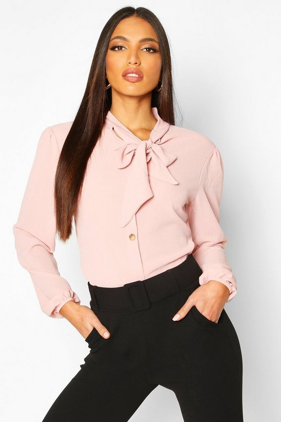 Womens Blush Pussybow Button Through Volume Sleeve Blouse