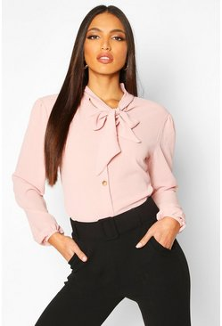 Blush Pussybow Button Through Volume Sleeve Blouse