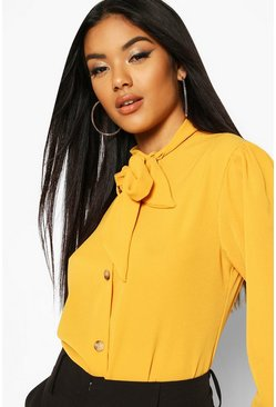 Mustard Pussybow Button Through Volume Sleeve Blouse