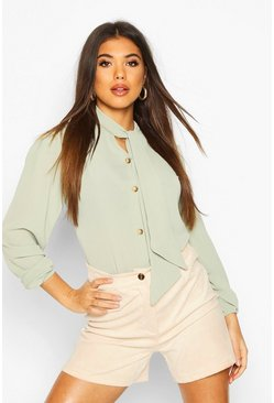 Sage Pussybow Button Through Volume Sleeve Blouse
