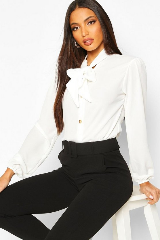 Womens White Pussybow Button Through Volume Sleeve Blouse