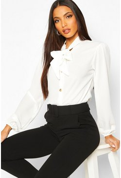White Pussybow Button Through Volume Sleeve Blouse
