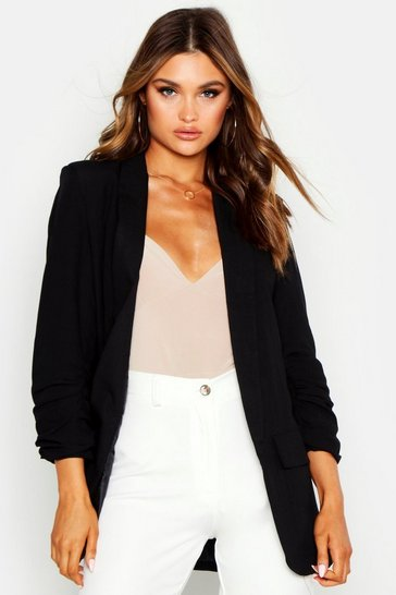 Womens Black Linen Look Ruched Sleeve Blazer