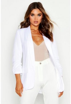 Womens White Linen Look Ruched Sleeve Blazer