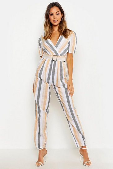 Womens Ivory Linen Look Stripe Belted Tailored Jumpsuit