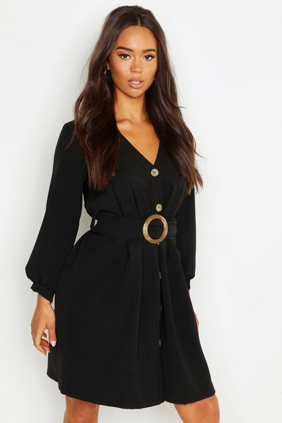 Button Through Volume Sleeve O Ring Belt Woven Dress Button Through Volume Sleeve O Ring Belt Woven Dress by Boohoo
