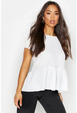 Womens White Peplum Hem Short Sleeve Blouse