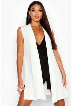Womens White Sleeveless Tencel Blazer