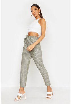 Womens Khaki Paperbag Linen Stripe Tapered Pants
