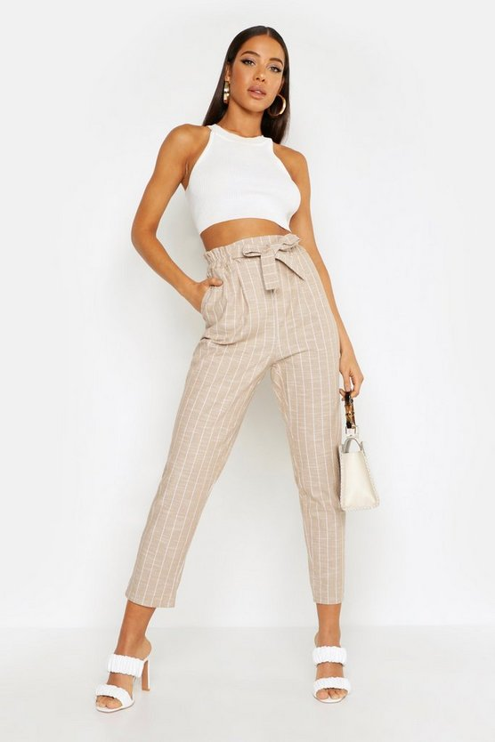 Womens Stone Paperbag Linen Stripe Tapered Trouser