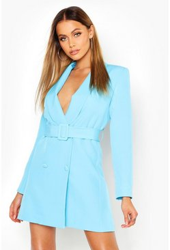 Womens Blue Belted Blazer Dress