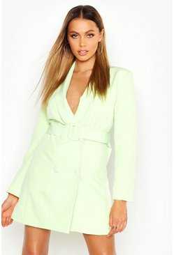 Womens Lime Belted Blazer Dress