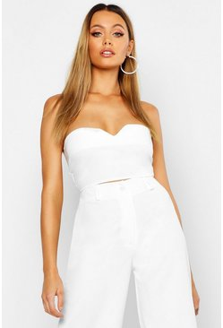 Womens White Tailored Bandeau Top