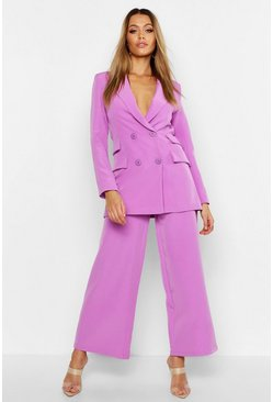 Womens Ultra violet Double Pocket Double Breasted Blazer