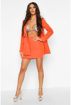 Womens Orange Tailored Mini Skirt