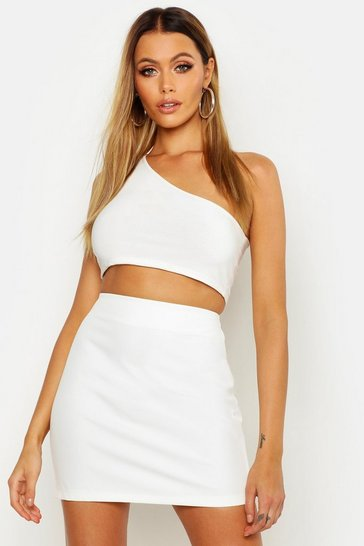 Womens White Tailored Mini Skirt