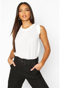 Womens White Sleeveless Frill High Neck Blouse
