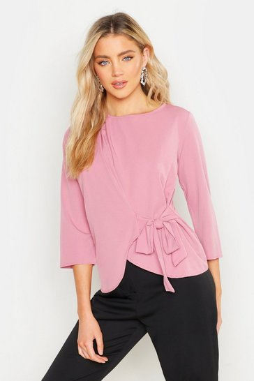 Womens Rose Wrap Tie Front Woven Blouse