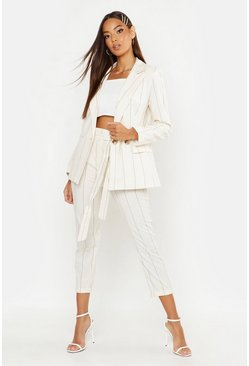 Womens Ivory Linen Stripe Paperbag Tapered Trouser