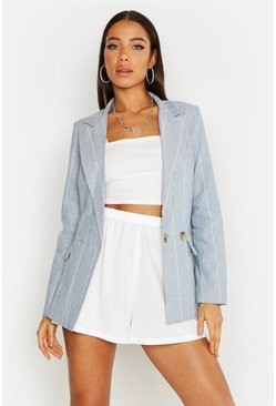 Womens Blue Pin Stripe Double Breasted Blazer