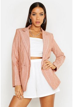 Womens Rust Pin Stripe Double Breasted Blazer