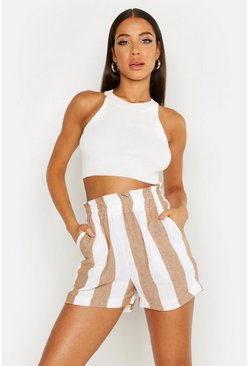 Womens Camel Wide Stripe Linen Shorts