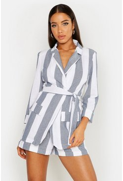 Womens Blue Wide Stripe Linen Belted Blazer