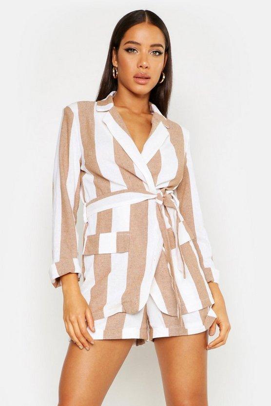 Wide Stripe Linen Belted Blazer by Boohoo