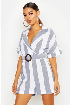 Womens Blue Linen Stripe Tailored Belted Playsuit