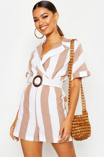 Womens Camel Linen Stripe Tailored Belted Playsuit