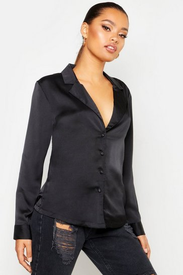 Womens Black Satin Shirt