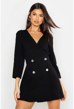Womens Black Collarless Double Breasted Blazer Dress